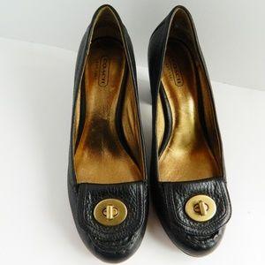 Coach Black Pebble Leather Heels